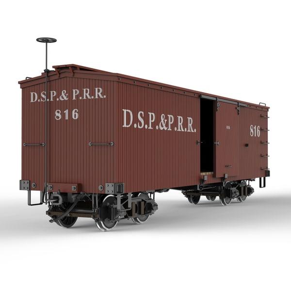 narrow gauge box car 3d model