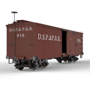 narrow gauge box car 3d model