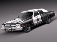 3d dodge car sedan 1974