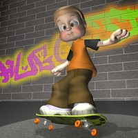 3d cartoon kid rigged