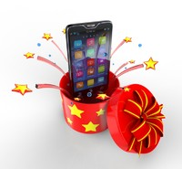3d model phone fireworks stars