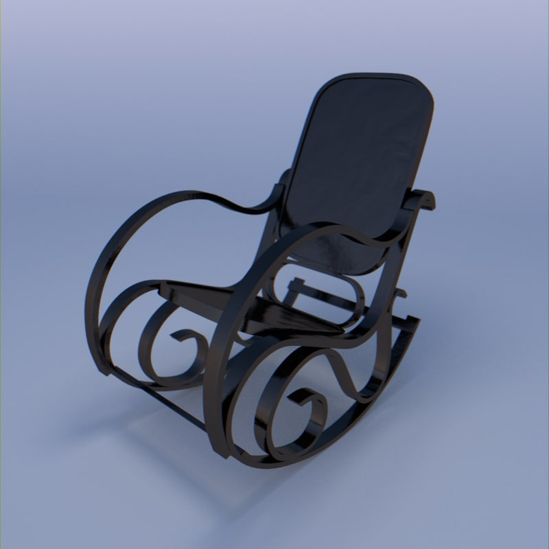 3d model of chair rocking