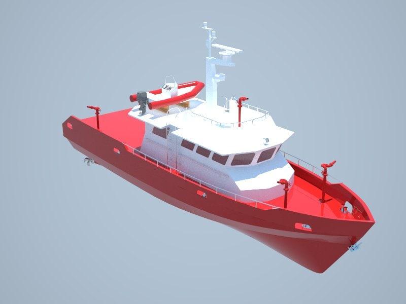 20m firefighting boat 3d model