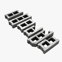 cinder block set 3d lwo