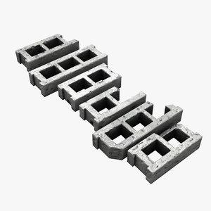 cinder block set 3d lwo