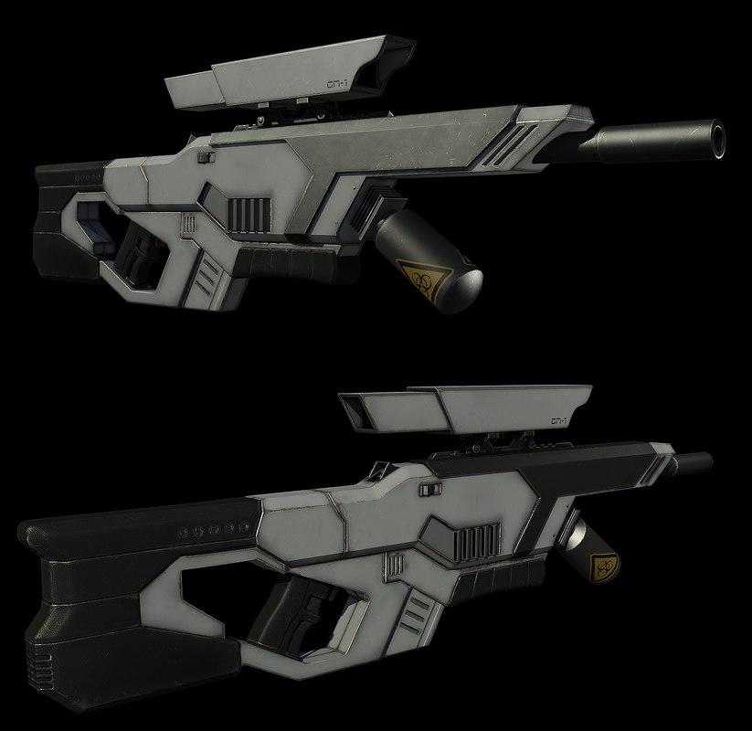3d sci fi rifle model