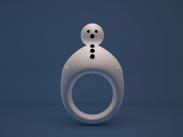 christmas snow man ring 3d model