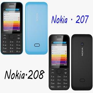 nokia 207 208 3d model