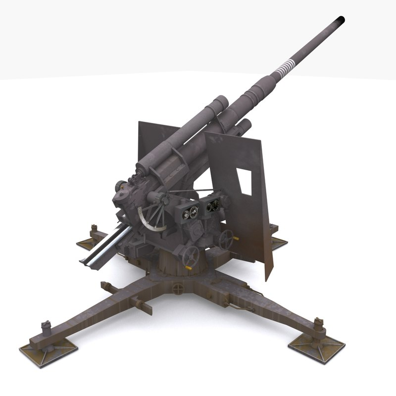 3d model of 88 gun artillery flak