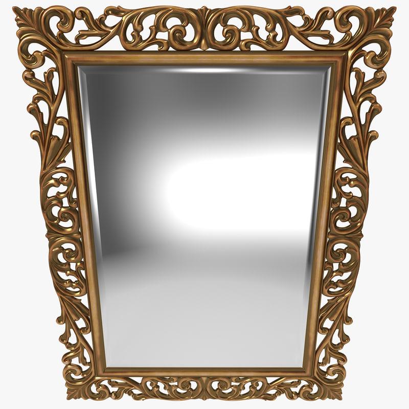 3d gold ornate square mirror