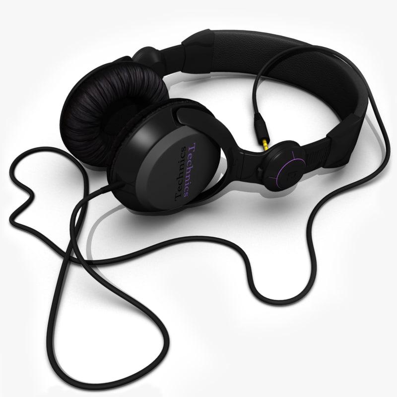 technics headphones 3d model