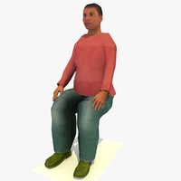 Low Poly Seated African Woman Joanna