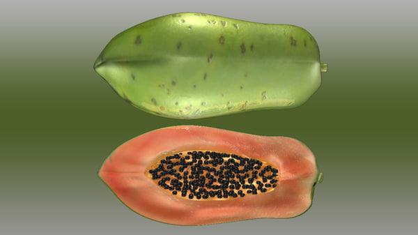 papaya fruit tropics 3d model