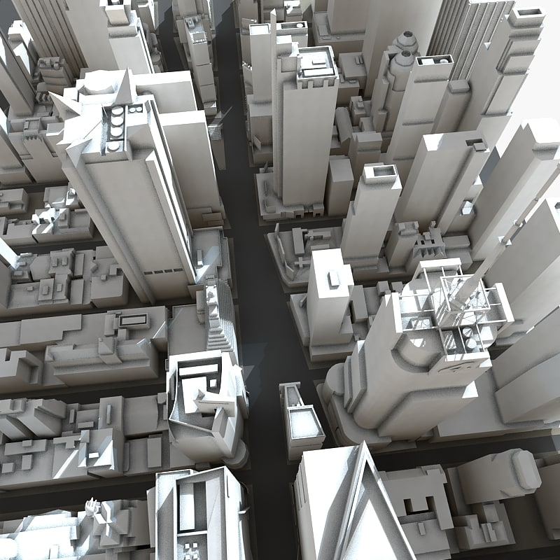 3d square manhattan buildings model