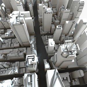 3d square manhattan buildings model