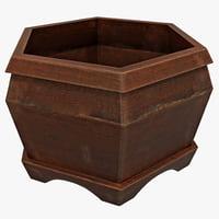 wood pot hexagon max