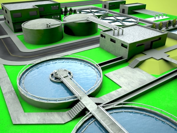 3ds max wasterwater treatment plant