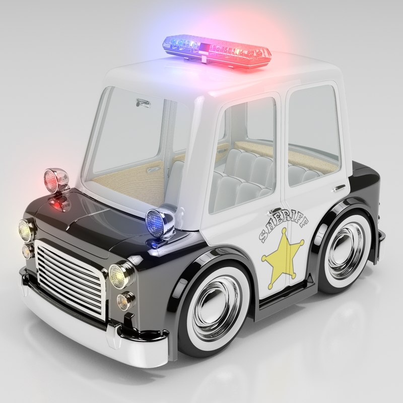 obj cartoon sedan police car interior