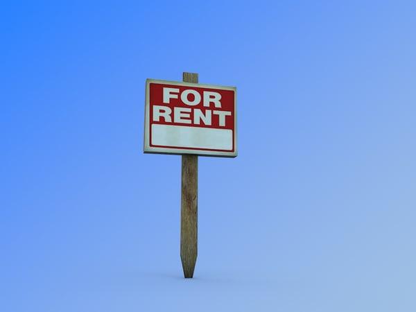 3d rent sign