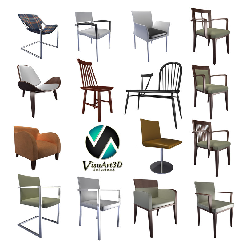 modern chairs 3ds