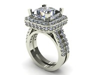 Cushion Halo Wedding Ring