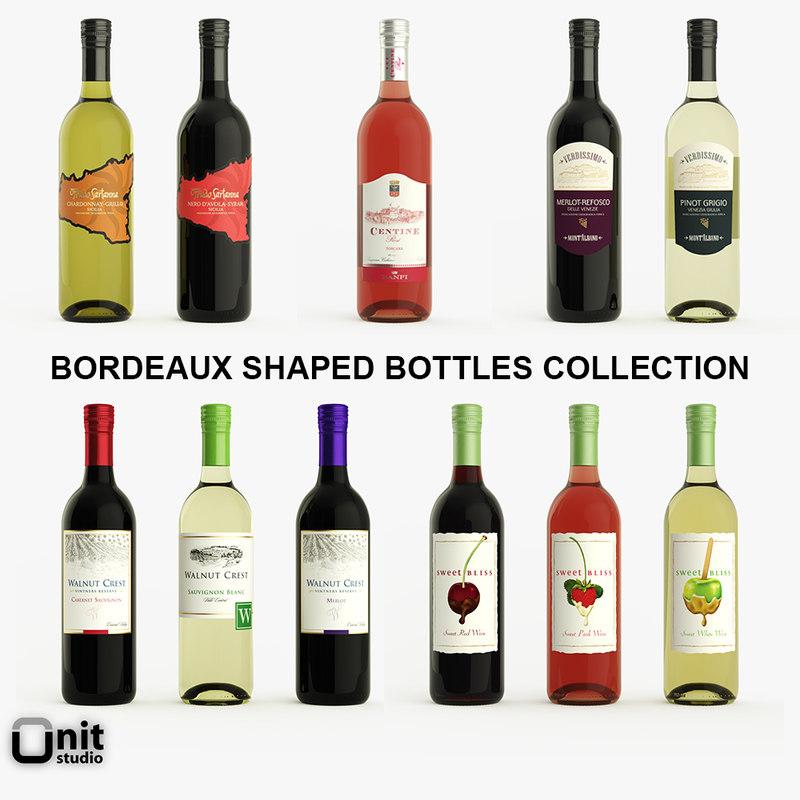 max 11 bordeaux shaped wine bottles