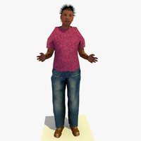 3ds max realistically standing african female body