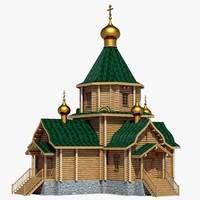 3d model russian wooden church