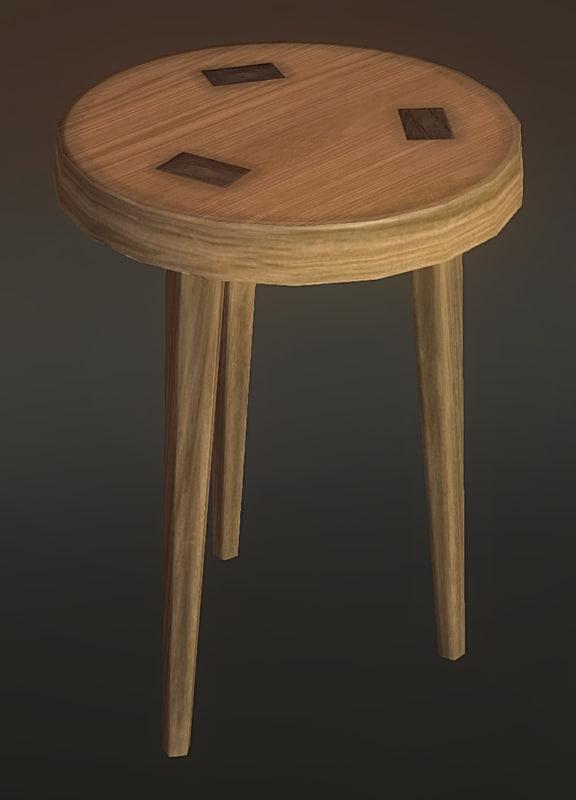free wooden stool 3d model