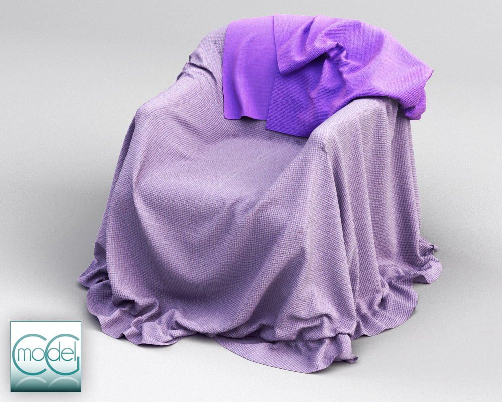 3d couch covered cloth