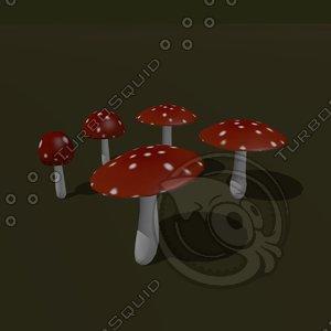 3d mushroom cartoon