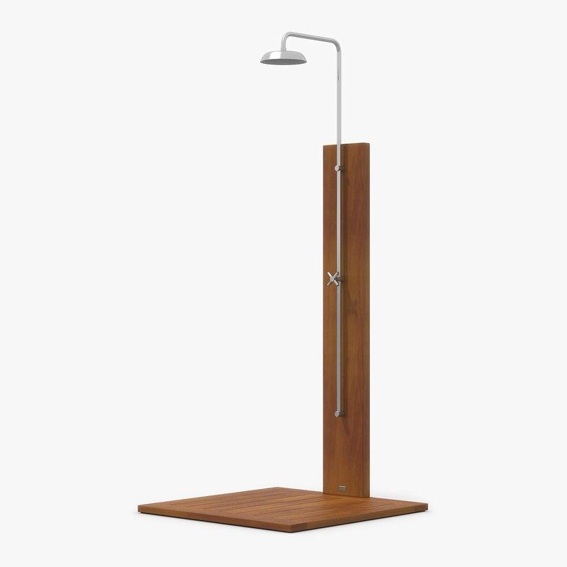 Pool Shower Dark Oak Wood 3d Model