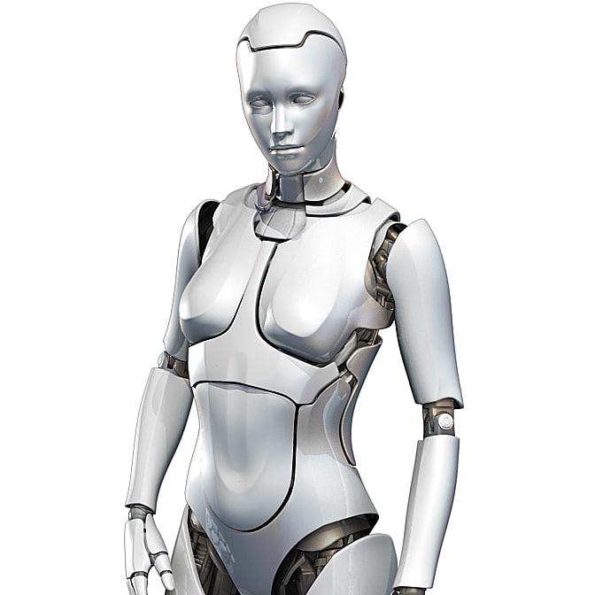 obj female cyborg robot