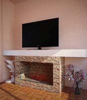 3d model fireplace design