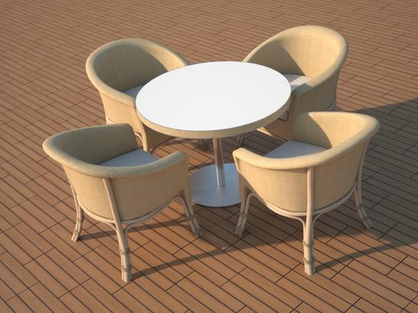 3d model chair table balcony