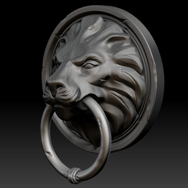3ds zbrush lion door head - Lion face door knocker ...