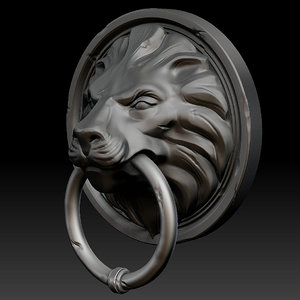 3ds zbrush lion door head