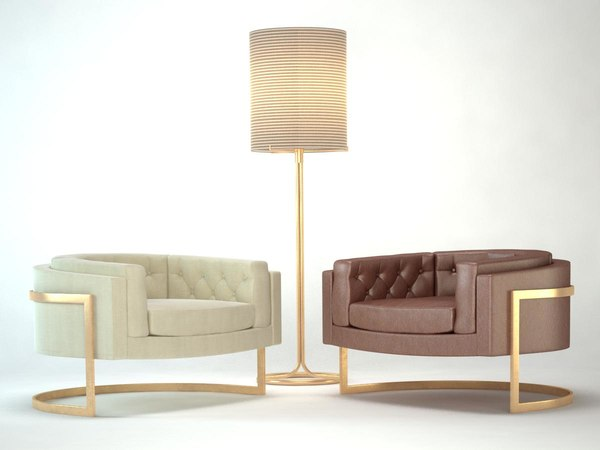 3d armchair milo baughman model