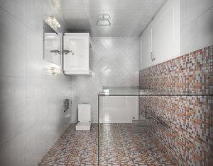 3d bath wc scene interior model