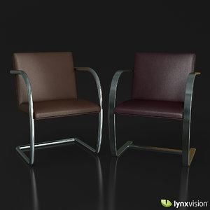 brno chairs ludwig mies 3d max