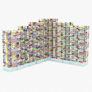 3d model building rise colored