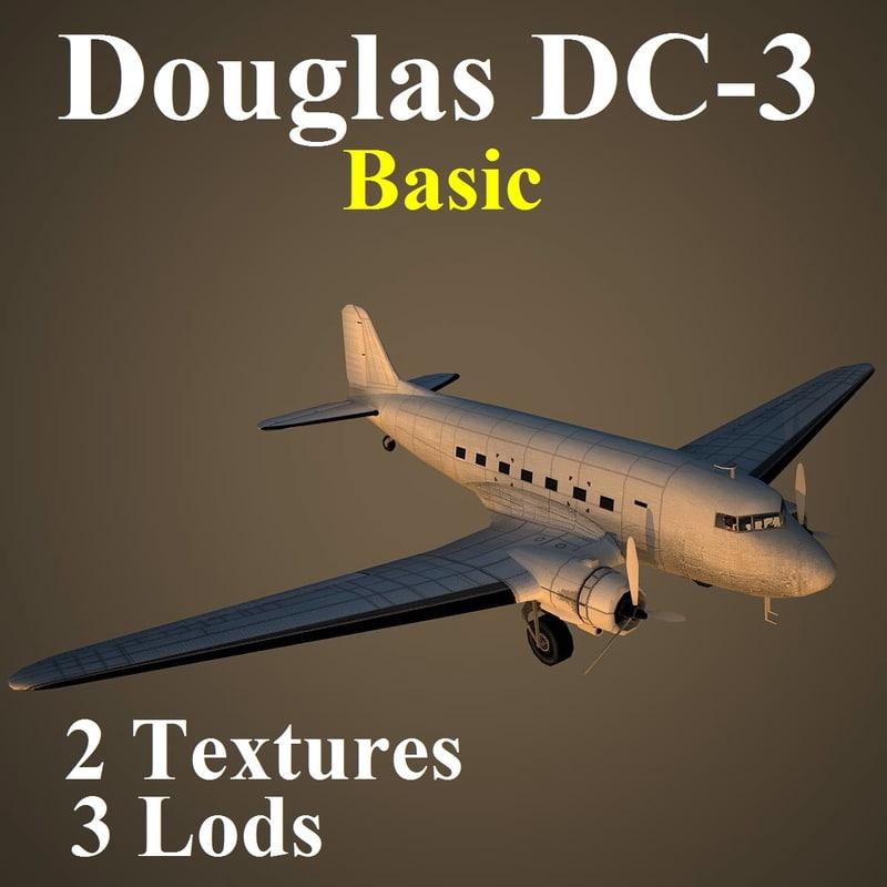 douglas dc-3 basic 3 3d model