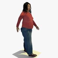Low Poly Walking African Woman B
