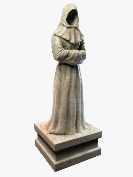 monk statue 3d model