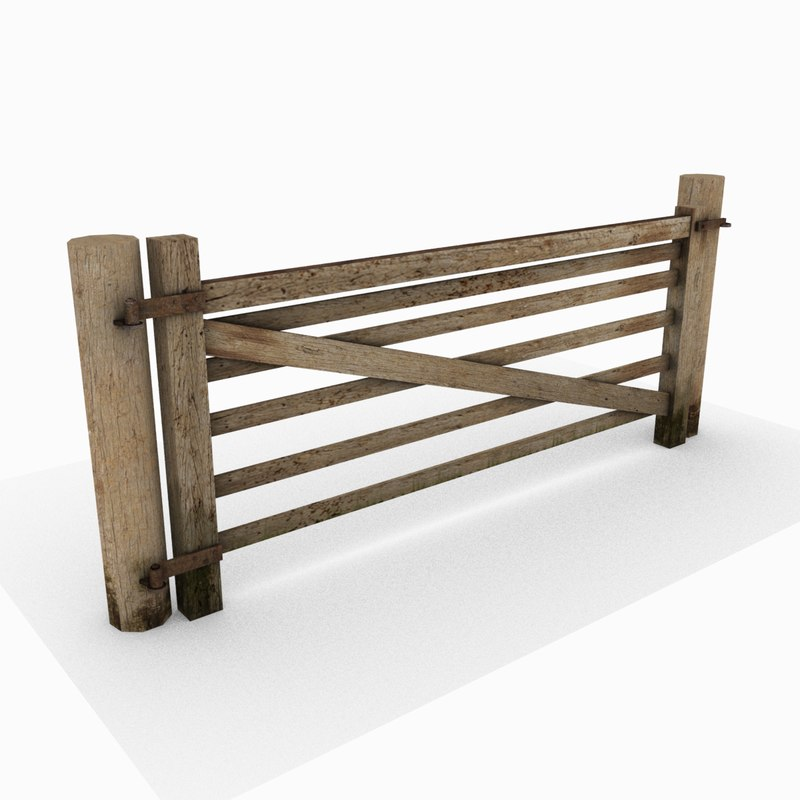 Wooden fence gate 3d model for 3d fence