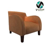 3d model modern snug velvet chair materials
