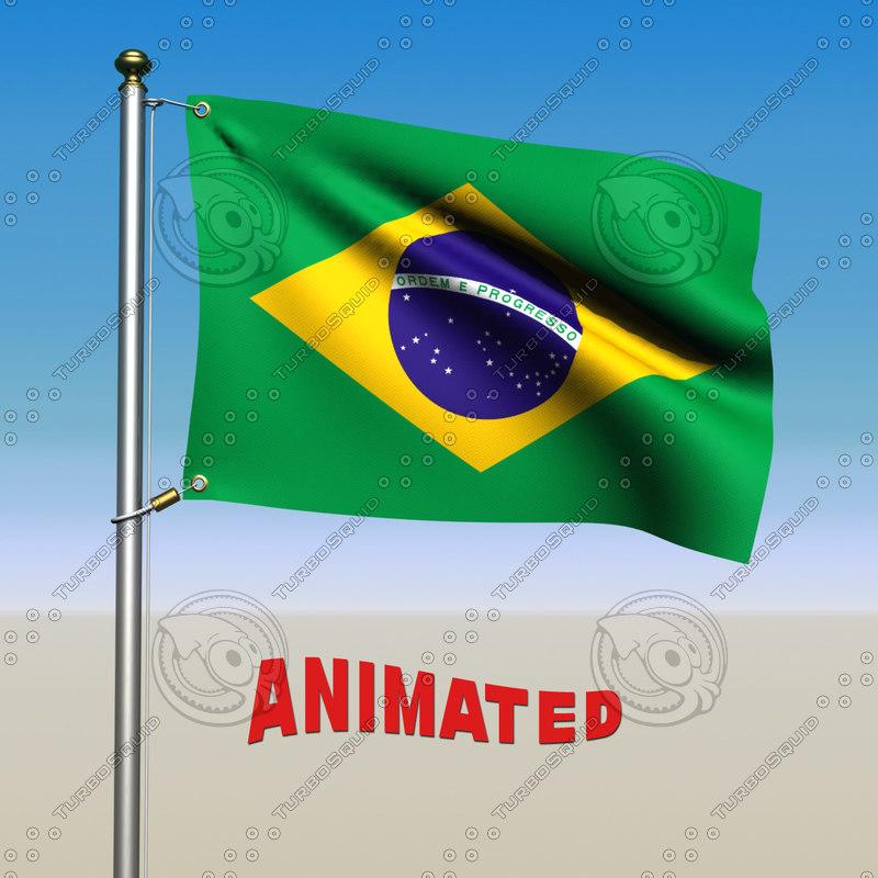 3d brazil flag