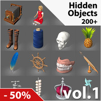 200+ Hidden Object Game Low-Poly 3D Models