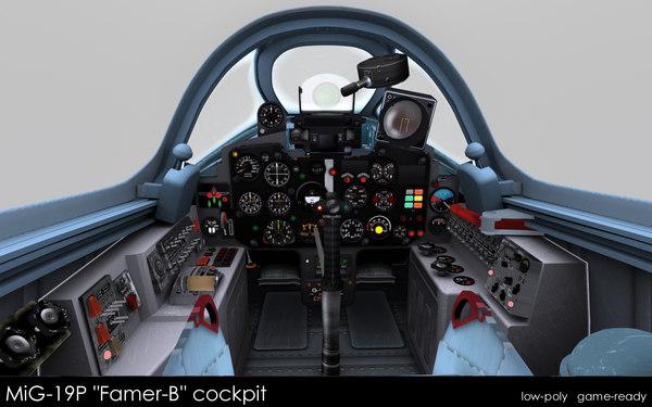 3d model mig-19p farmer-b cockpit