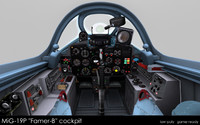 3d model mig-19p farmer-b cockpit